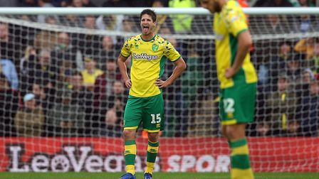 Timm Klose of Norwich looks dejected after scoring an own goal during the Sky Bet Championship match