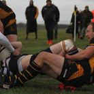 Southwold's Richard Thickett in the thick of the action against Romford & Gidea Park Picture:LINDA C
