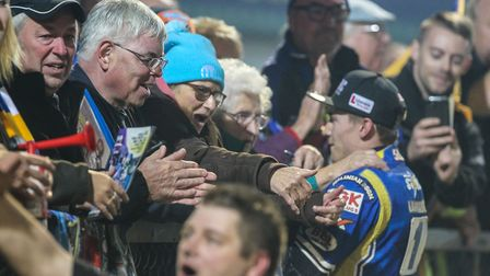 Robert Lambert talks to the travelling King's Lynn Stars fans at Poole Picture: Taylor Lanning