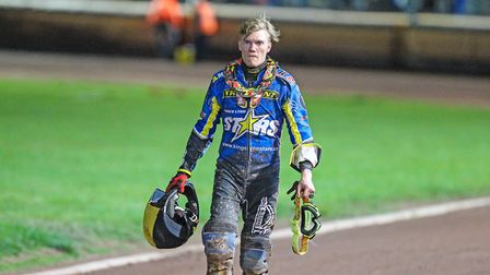 A disconsolate Michael Palm Toft, who misses King's Lynn Stars' play-off final decider at home to Po