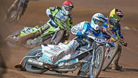 King's Lynn Stars' Erik Riss in action at Poole Picture: Taylor Lanning