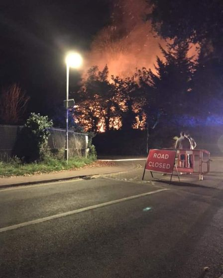 The fire at the former Pontins in Hemsby. Pic: Tristan Covington
