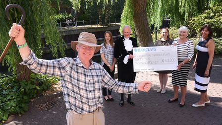 James Bagge celebrates the completion of his Walking4Norfolk event which raised £62000. From left, H