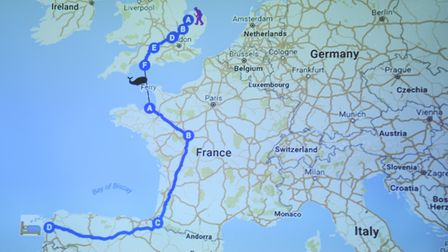 The route of the walk James Bagge took from Norwich to Compostela in Spain, to raise funds for carer