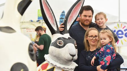 Laura and Tom Pearce with children Evalie and Taylor at the 'Meet the GoGoHares' event at the Forum.