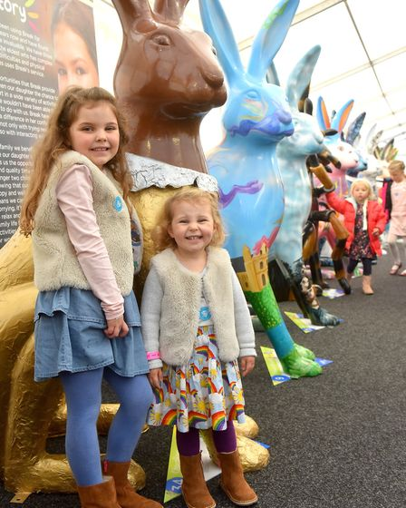 Bella and Matilda Collier enjoying the' Meet the GoGoHares' event at the Forum. Picture: Nick Butche