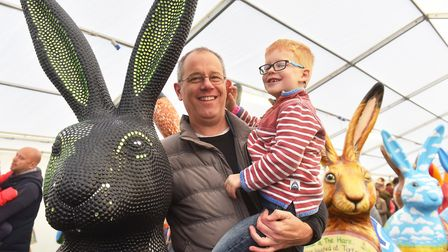 Bertie Woodward with his dad Richard enjoying the' Meet the GoGoHares' event at the Forum. Picture: