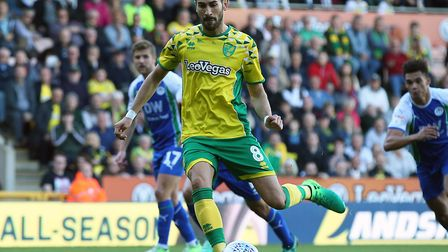 Mario Vrancic scored City's winning penalty against Wigan at Carrow Road Picture: Paul Chesterton/Fo