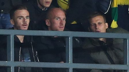 James Maddison, John Ruddy and Ryan Bennett were supporting the Canaries at Derby Picture: Paul Ches