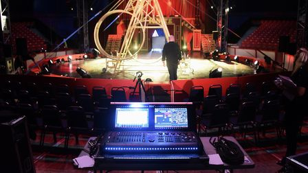 The circus stage being set up before the Diversity show 'Ignite' at Earlham Park. Picture: DENISE BR