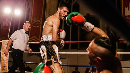Liam Goddard in action during his successful pro boxing debut in Norwich Picture: Mark Hewlett