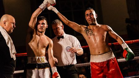 Liam Goddard, left, and Yadollah Ghasemi after the Norwich man's successful pro boxing debut at The