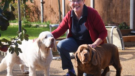 Ann Basey, 70, with her dogs Monty and Betsy, during her 'year of me', setting herself a series of c