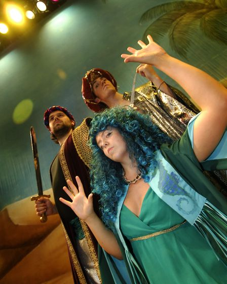 Rebecca Humphries (front) plays Saleea the sea witch in a production of Sinbad the Sailor at Norwich