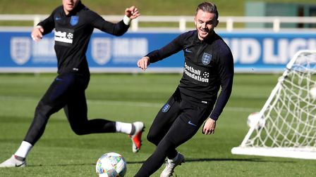 England's James Maddison during the training session at St George's Park, Burton Picture: Martin Ric