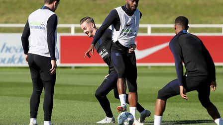 England's Nathanial Chalobah (centre right) and James Maddison (centre left) during the training ses