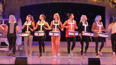 Thursford Spectacular dance rehersal, drummers on stage