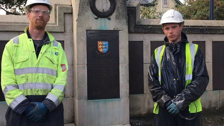 Ben Boydell and Reece Simons of VariBlast have been giving the Great Yarmouth War Memorial a deep cl