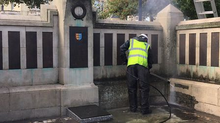 Reece Simons of VariBlast cleaning the Great Yarmouth War Memorial. Picture: Joseph Norton