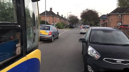 The parking on Peckover Road. Picture: Konectbus
