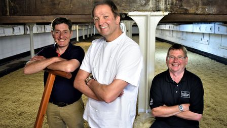 Rob Moody of Crisp Maltings with chef Galton Blackiston and brewer David Holliday at the floor malti