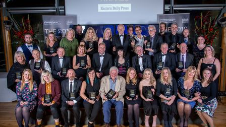 Norfolk Arts Awards 2018 at The Hostry at Norwich Cathedral. The winners all together. Photo: Simon