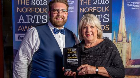 Norfolk Arts Awards 2018 at The Hostry at Norwich Cathedral. Jack and Christine Jay with the Lifetim