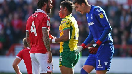 Nottingham Forest Danny Fox has a word with Onel Hernandez - possibly saying Norwich City were the b