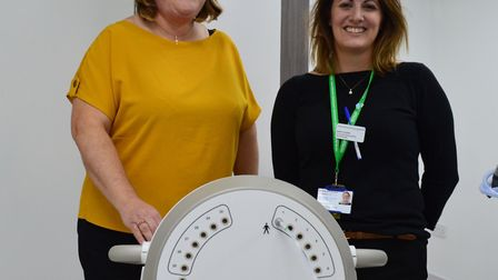 Vicki Currie and Katie Copper with the Bravos machine. Photo: NNUH