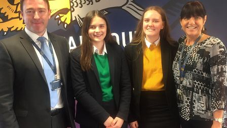 Former Great Yarmouth Charter Academy pupils Phoebe Harvey and Keeley Roe, who won scholarships to G