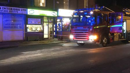 Firefighters tackle a blaze in Northgate Street, Great Yarmouth.