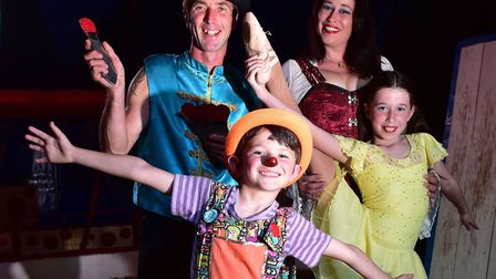 Circus family Todd Christian with his wife Claire Fidelia and children Laken and Tyanna who ending t