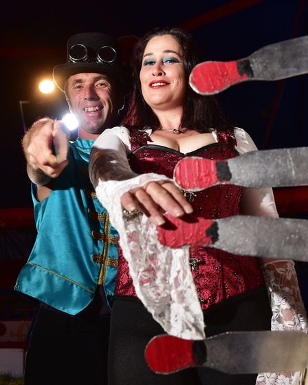 Knife thrower Todd Christian with his wife Claire Fidelia who have been running Circus Tyanna for 10