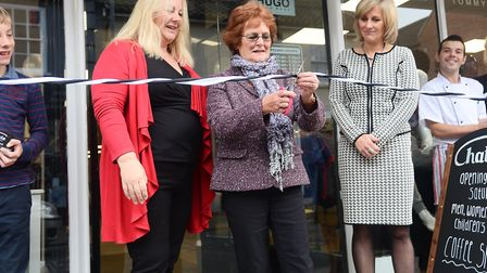 Official opening of Chattels in Dereham. Pictured are (from left) Bridgette Hall, Christine Todd and