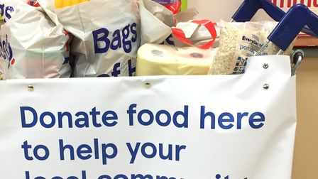 The food collection point at the Tesco store in Lowestoft last year. Pictures: Mick Howes