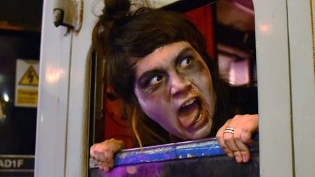 One of the actors during the dress rehearsal for the Halloween Horror Train scaring passengers on th