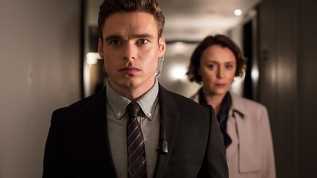 A scene from the television drama Bodyguard, starring Richard Madden and Keeley Hawes. Part of the