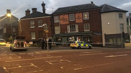 Three police cars could be seen parked outside The Steam Packet, on Crown Road, near Rose Lane. Phot