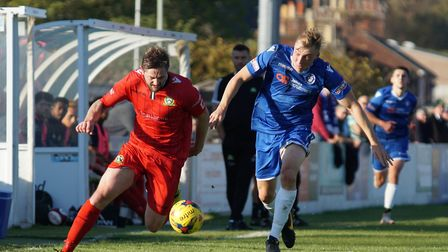Lowestoft's Armani Schaar gives chase during the weekend draw at home to Barwell Picture: Shirley D