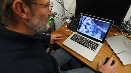 Tests on the AutoNaut' robot at the UEA. Dr Martin Wadley, who designed and constructed the tests.Pi
