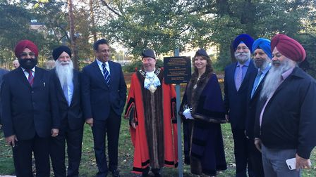 The unveiling of a plaque dedicated to the refurbishment of the statue of Maharaja Duleep Singh in T