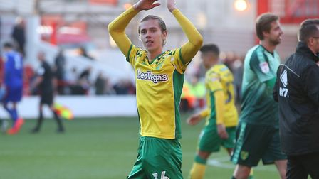 Todd Cantwell of Norwich applauds the traveling support at the end of the Sky Bet Championship match