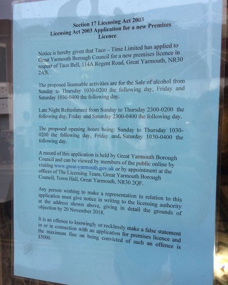 A sign outlining the licensing application from Taco Bell to Great Yarmouth Borough Council.
