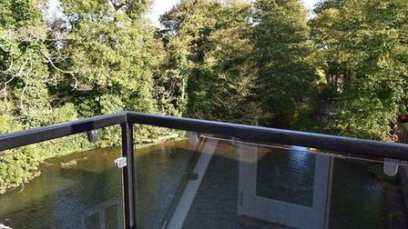 Aylsham watermill: the balcony from the top floor master bedroom suite. Pic; www.arnoldskeys.com