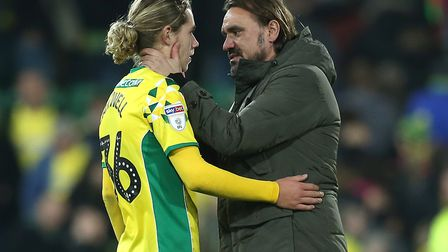 Head coach Daniel Farke shares a word with young Todd Cantwell after the win over Aston Villa Pictur
