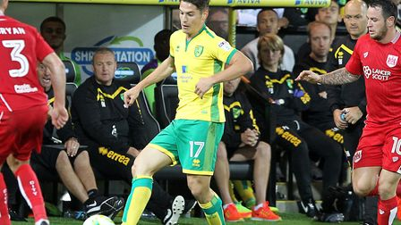 Alex Neil watches Sergi Canos take on Bristol City during a 1-0 win at Carrow Road in August 2016 Pi