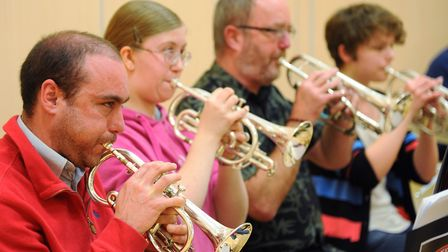 The City of Norwich Brass Band during rehearsal at the Willow Centre at Cringleford. Picture: DENISE