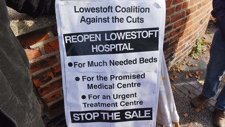 Protesters camapign outside the former Lowestoft Hospital to try and stop the sale of the building.P
