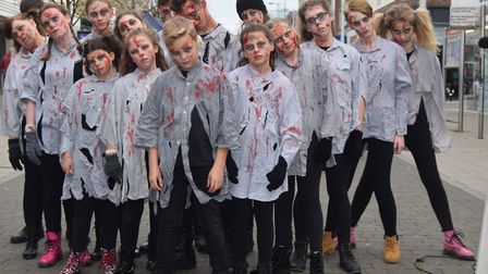 Halloween activities were held in Lowestoft town centre last year as performers from CantorsTheatre