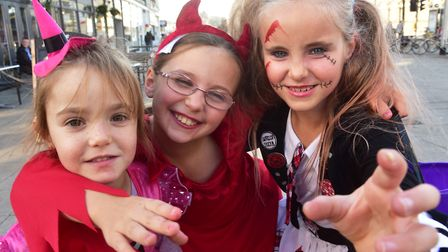 Youngsters took to the streets of Lowestoft to celebrate Halloween in 2016. Gracie, Elise and Mollie